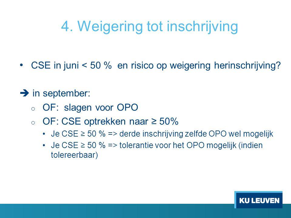 4. Weigering tot inschrijving CSE in juni < 50 % en risico op weigering herinschrijving?  in september: o OF: slagen voor OPO o OF: CSE optrekken naa