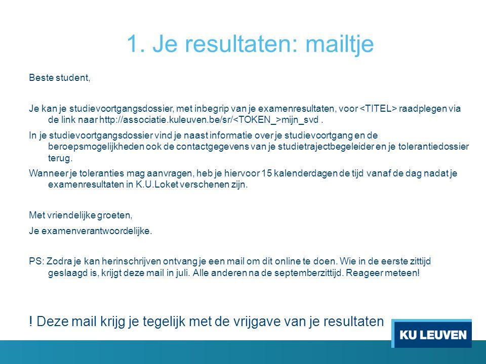 1. Je resultaten: mailtje Beste student, Je kan je studievoortgangsdossier, met inbegrip van je examenresultaten, voor raadplegen via de link naar htt