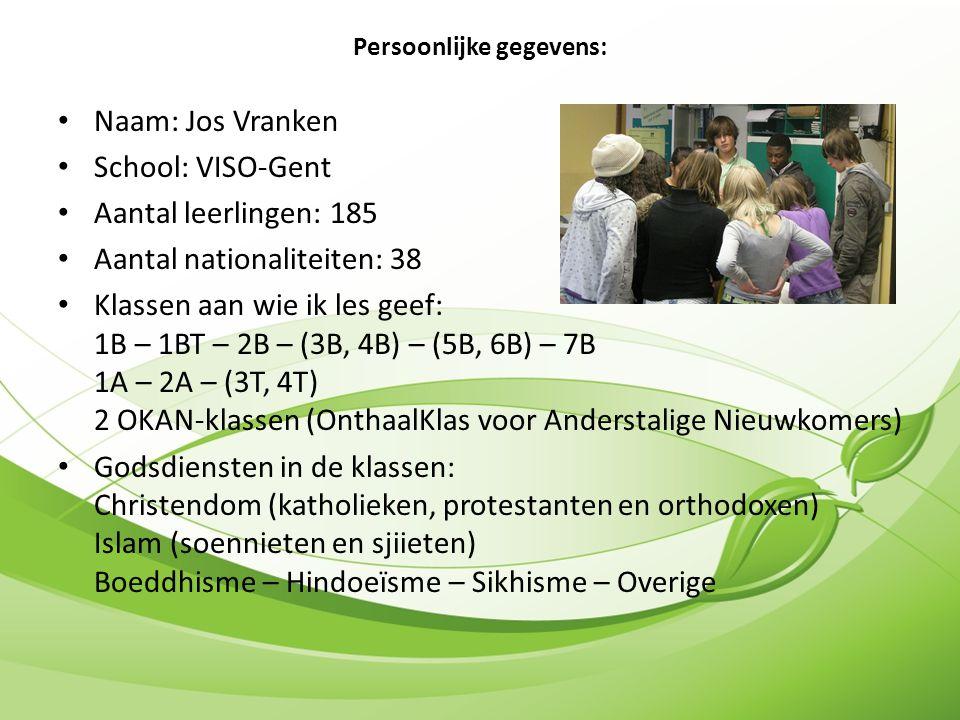 Naam: Jos Vranken School: VISO-Gent Aantal leerlingen: 185 Aantal nationaliteiten: 38 Klassen aan wie ik les geef: 1B – 1BT – 2B – (3B, 4B) – (5B, 6B) – 7B 1A – 2A – (3T, 4T) 2 OKAN-klassen (OnthaalKlas voor Anderstalige Nieuwkomers) Godsdiensten in de klassen: Christendom (katholieken, protestanten en orthodoxen) Islam (soennieten en sjiieten) Boeddhisme – Hindoeïsme – Sikhisme – Overige Persoonlijke gegevens: