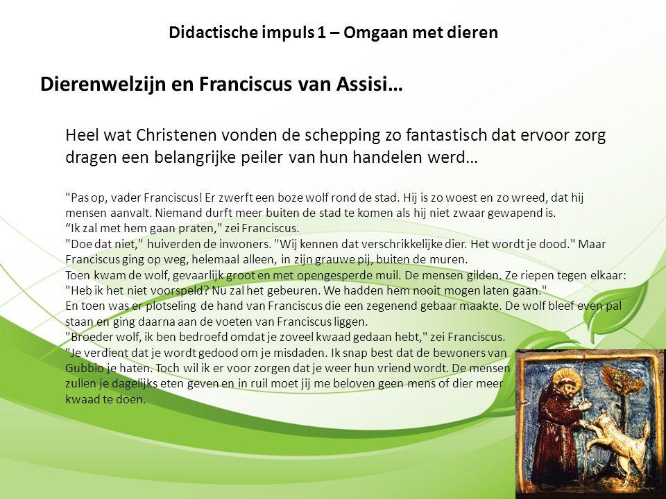 Dierenwelzijn en Franciscus van Assisi… Heel wat Christenen vonden de schepping zo fantastisch dat ervoor zorg dragen een belangrijke peiler van hun handelen werd… Pas op, vader Franciscus.