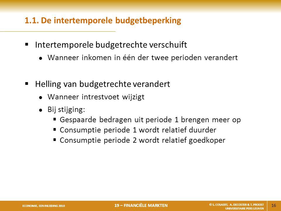 16 ECONOMIE, EEN INLEIDING 2010 19 – FINANCIËLE MARKTEN © S. COSAERT, A. DECOSTER & T. PROOST UNIVERSITAIRE PERS LEUVEN 1.1. De intertemporele budgetb