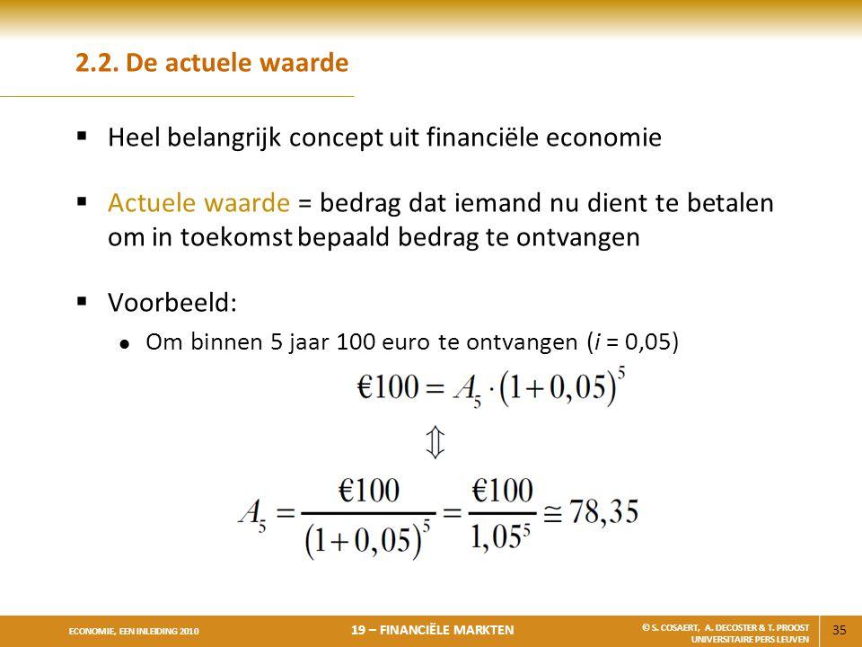 35 ECONOMIE, EEN INLEIDING 2010 19 – FINANCIËLE MARKTEN © S. COSAERT, A. DECOSTER & T. PROOST UNIVERSITAIRE PERS LEUVEN 2.2. De actuele waarde  Heel