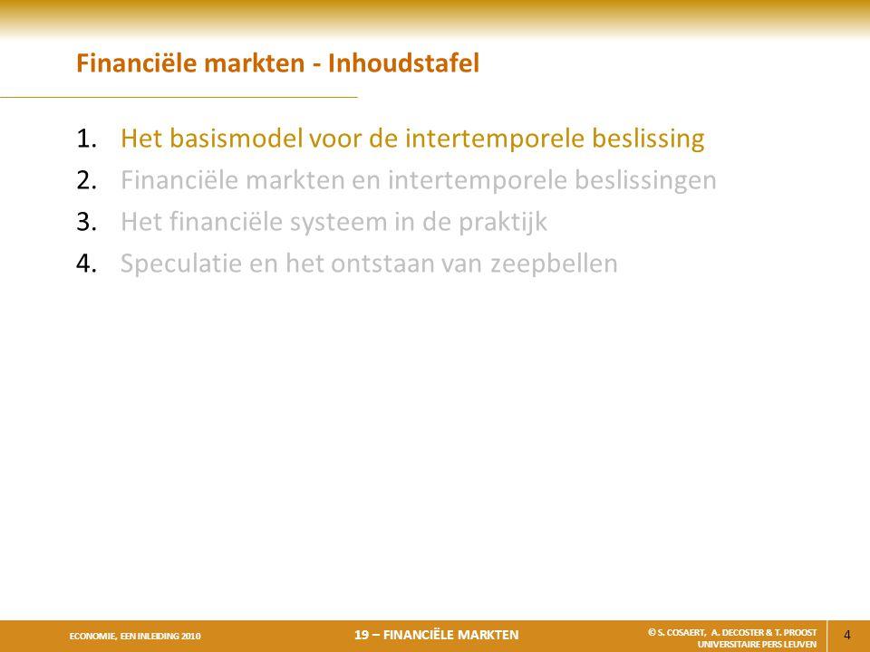 4 ECONOMIE, EEN INLEIDING 2010 19 – FINANCIËLE MARKTEN © S. COSAERT, A. DECOSTER & T. PROOST UNIVERSITAIRE PERS LEUVEN Financiële markten - Inhoudstaf