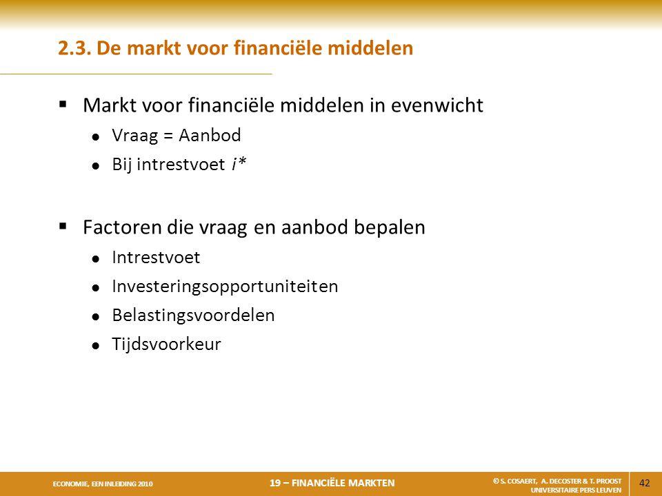 42 ECONOMIE, EEN INLEIDING 2010 19 – FINANCIËLE MARKTEN © S. COSAERT, A. DECOSTER & T. PROOST UNIVERSITAIRE PERS LEUVEN 2.3. De markt voor financiële