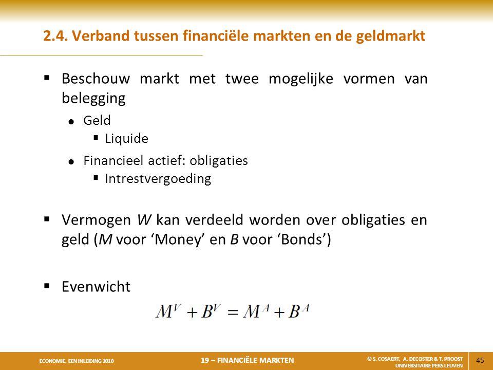 45 ECONOMIE, EEN INLEIDING 2010 19 – FINANCIËLE MARKTEN © S. COSAERT, A. DECOSTER & T. PROOST UNIVERSITAIRE PERS LEUVEN 2.4. Verband tussen financiële