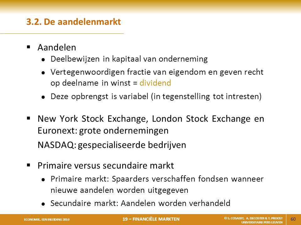 60 ECONOMIE, EEN INLEIDING 2010 19 – FINANCIËLE MARKTEN © S. COSAERT, A. DECOSTER & T. PROOST UNIVERSITAIRE PERS LEUVEN 3.2. De aandelenmarkt  Aandel