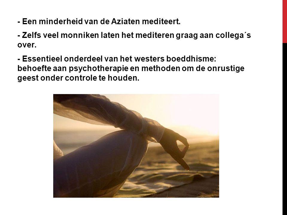 - Een minderheid van de Aziaten mediteert. - Zelfs veel monniken laten het mediteren graag aan collega´s over. - Essentieel onderdeel van het westers