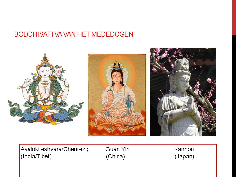 BODDHISATTVA VAN HET MEDEDOGEN Avalokiteshvara/Chenrezig Guan Yin Kannon (India/Tibet) (China) (Japan)