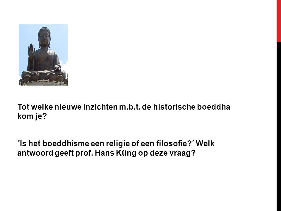 Tot welke nieuwe inzichten m.b.t. de historische boeddha kom je? ´Is het boeddhisme een religie of een filosofie?´ Welk antwoord geeft prof. Hans Küng