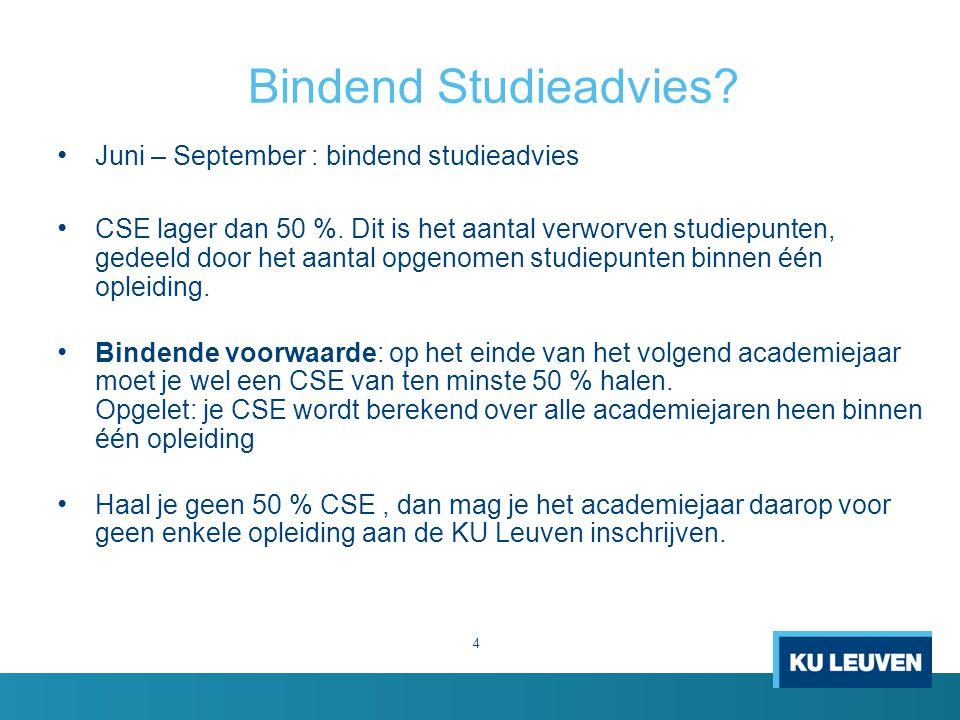 Bindend Studieadvies. 4 Juni – September : bindend studieadvies CSE lager dan 50 %.