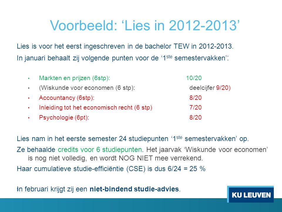 5 Voorbeeld: 'Lies in 2012-2013' Lies is voor het eerst ingeschreven in de bachelor TEW in 2012-2013.