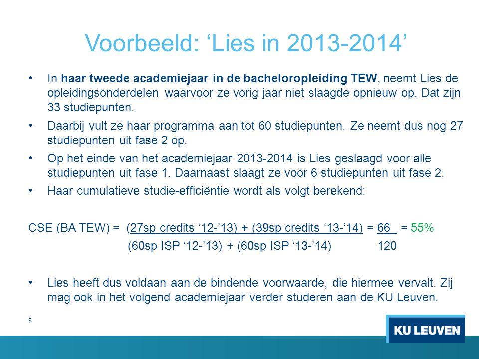 8 Voorbeeld: 'Lies in 2013-2014' In haar tweede academiejaar in de bacheloropleiding TEW, neemt Lies de opleidingsonderdelen waarvoor ze vorig jaar ni