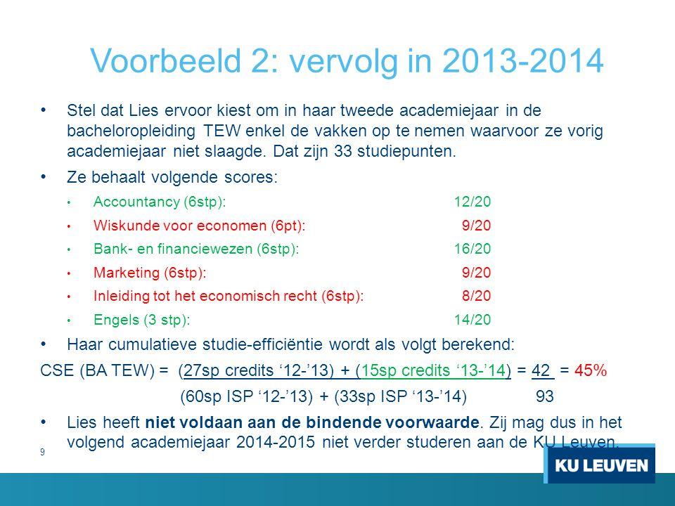 9 Voorbeeld 2: vervolg in 2013-2014 Stel dat Lies ervoor kiest om in haar tweede academiejaar in de bacheloropleiding TEW enkel de vakken op te nemen waarvoor ze vorig academiejaar niet slaagde.