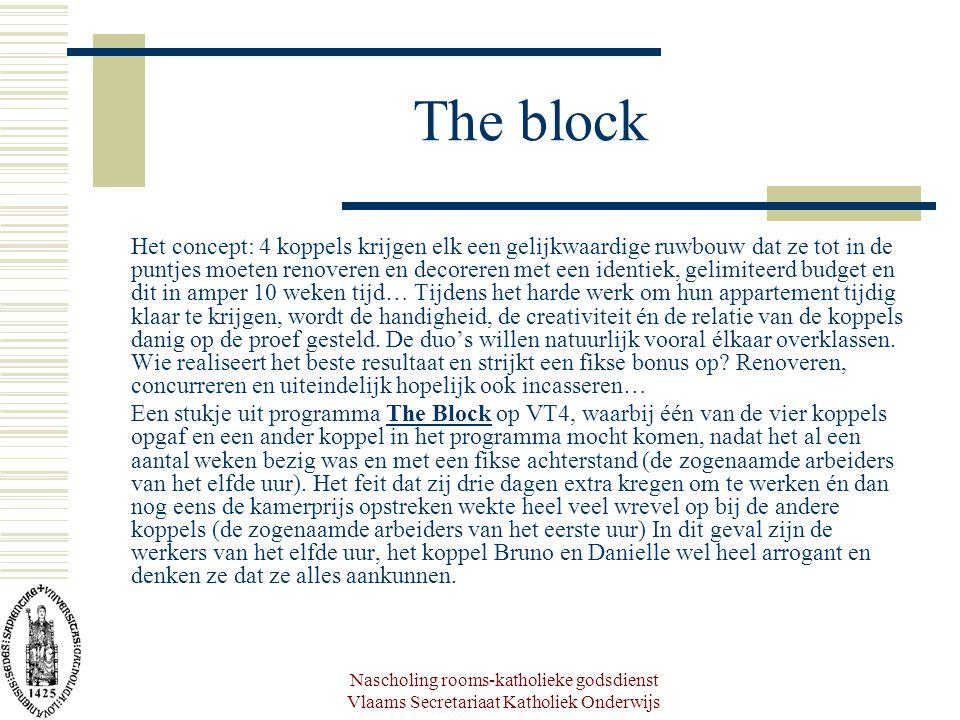 Nascholing rooms-katholieke godsdienst Vlaams Secretariaat Katholiek Onderwijs The block Het concept: 4 koppels krijgen elk een gelijkwaardige ruwbouw