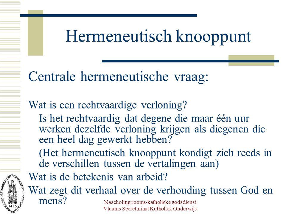 Nascholing rooms-katholieke godsdienst Vlaams Secretariaat Katholiek Onderwijs Hermeneutisch knooppunt Centrale hermeneutische vraag: Wat is een rechtvaardige verloning.