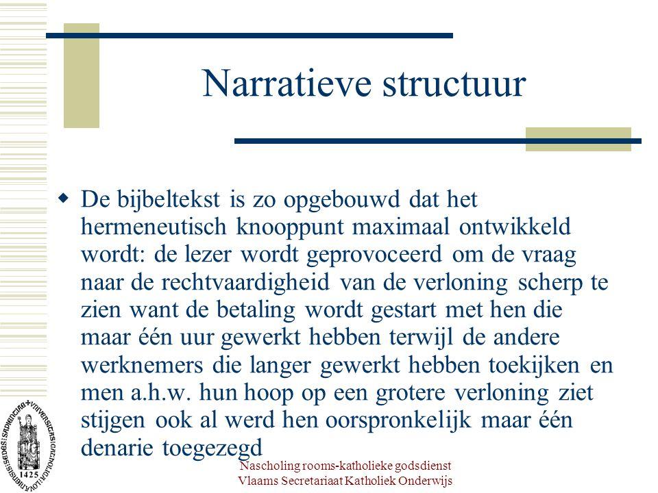 Nascholing rooms-katholieke godsdienst Vlaams Secretariaat Katholiek Onderwijs Narratieve structuur  De bijbeltekst is zo opgebouwd dat het hermeneut