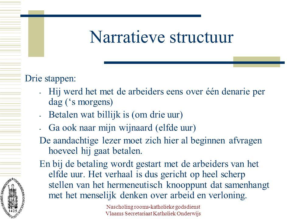 Nascholing rooms-katholieke godsdienst Vlaams Secretariaat Katholiek Onderwijs Narratieve structuur Drie stappen: - Hij werd het met de arbeiders eens