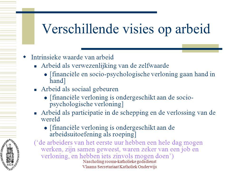 Nascholing rooms-katholieke godsdienst Vlaams Secretariaat Katholiek Onderwijs Verschillende visies op arbeid  Intrinsieke waarde van arbeid Arbeid a