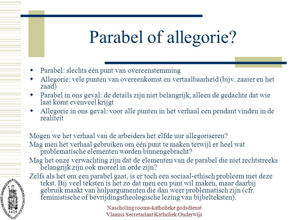 Nascholing rooms-katholieke godsdienst Vlaams Secretariaat Katholiek Onderwijs Parabel of allegorie?  Parabel: slechts één punt van overeenstemming 