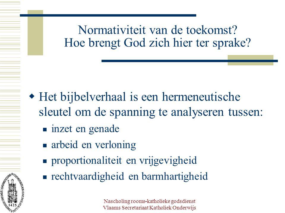 Nascholing rooms-katholieke godsdienst Vlaams Secretariaat Katholiek Onderwijs Normativiteit van de toekomst? Hoe brengt God zich hier ter sprake?  H