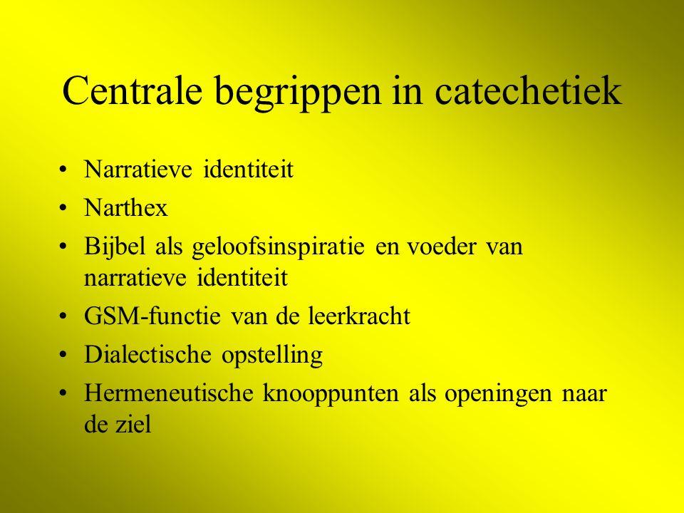 Centrale begrippen in catechetiek Narratieve identiteit Narthex Bijbel als geloofsinspiratie en voeder van narratieve identiteit GSM-functie van de leerkracht Dialectische opstelling Hermeneutische knooppunten als openingen naar de ziel
