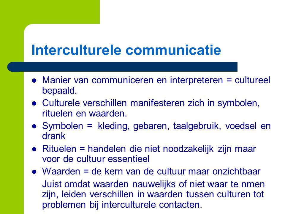 Interculturele communicatie Manier van communiceren en interpreteren = cultureel bepaald.