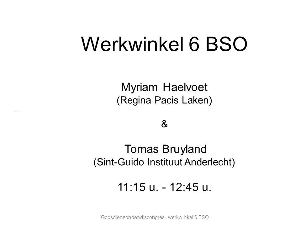 Werkwinkel 6 BSO Myriam Haelvoet (Regina Pacis Laken) & Tomas Bruyland (Sint-Guido Instituut Anderlecht) 11:15 u.