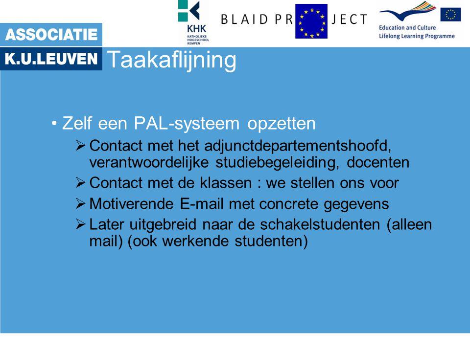 Taakaflijning Zelf een PAL-systeem opzetten  Contact met het adjunctdepartementshoofd, verantwoordelijke studiebegeleiding, docenten  Contact met de