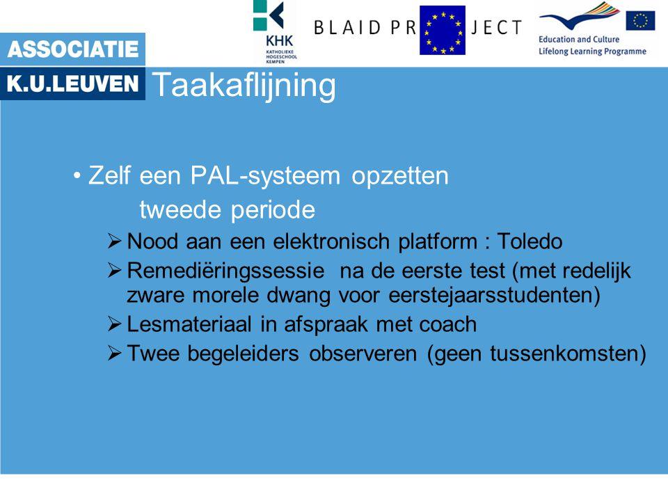 Taakaflijning Zelf een PAL-systeem opzetten tweede periode  Nood aan een elektronisch platform : Toledo  Remediëringssessie na de eerste test (met r