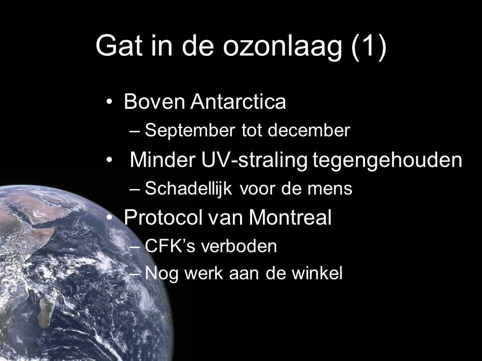 Gat in de ozonlaag (1) Boven Antarctica –September tot december Minder UV-straling tegengehouden –Schadellijk voor de mens Protocol van Montreal –CFK'