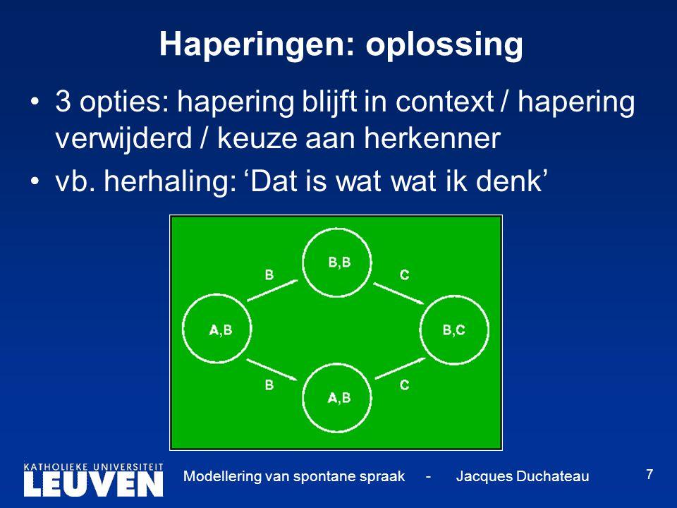 Modellering van spontane spraak - Jacques Duchateau 7 Haperingen: oplossing 3 opties: hapering blijft in context / hapering verwijderd / keuze aan herkenner vb.