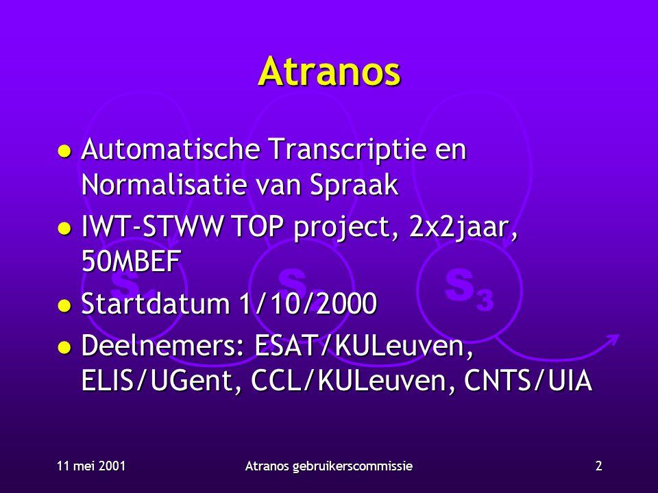 S1S1 S2S2 S3S3 11 mei 20012Atranos gebruikerscommissie Atranos l Automatische Transcriptie en Normalisatie van Spraak l IWT-STWW TOP project, 2x2jaar,