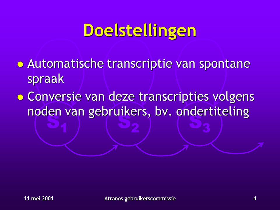 S1S1 S2S2 S3S3 11 mei 20014Atranos gebruikerscommissie Doelstellingen l Automatische transcriptie van spontane spraak l Conversie van deze transcripti