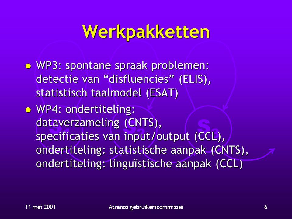 """S1S1 S2S2 S3S3 11 mei 20016Atranos gebruikerscommissie Werkpakketten l WP3: spontane spraak problemen: detectie van """"disfluencies"""" (ELIS), statistisch"""