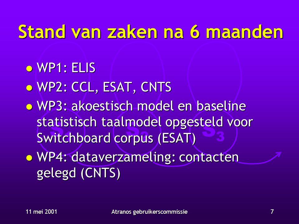 S1S1 S2S2 S3S3 11 mei 20017Atranos gebruikerscommissie Stand van zaken na 6 maanden l WP1: ELIS l WP2: CCL, ESAT, CNTS l WP3: akoestisch model en base
