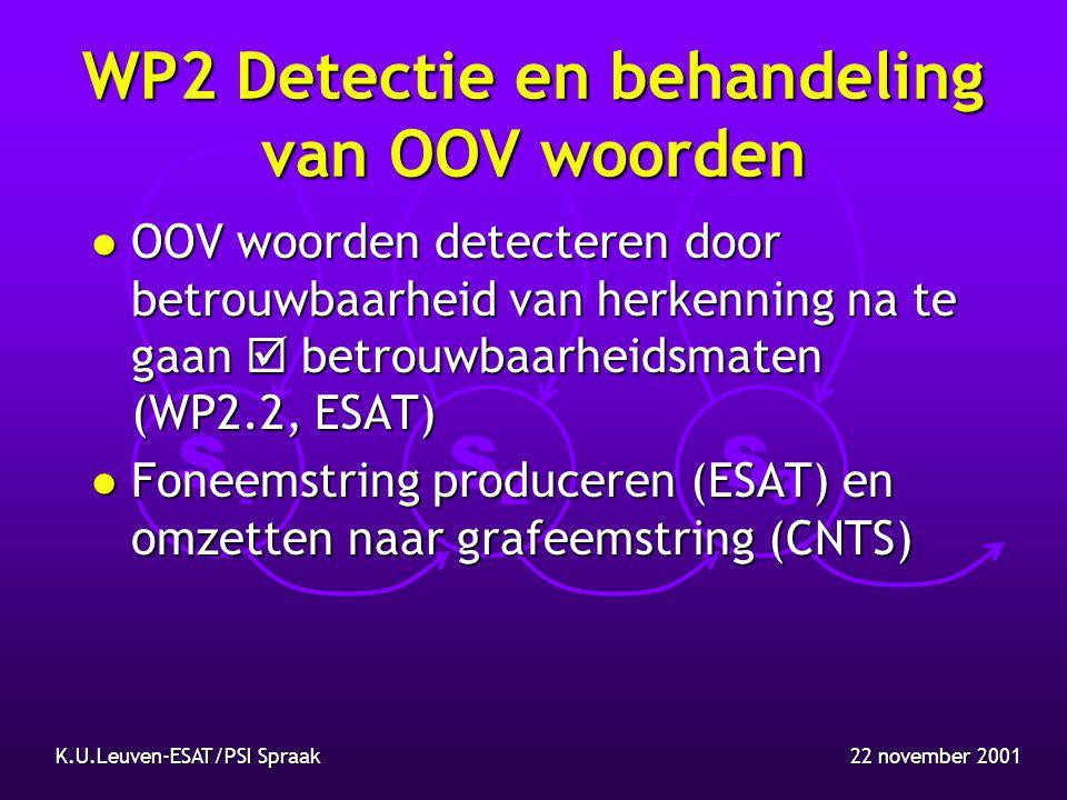 S1S1 S2S2 S3S3 22 november 2001K.U.Leuven-ESAT/PSI Spraak WP2 Detectie en behandeling van OOV woorden l OOV woorden detecteren door betrouwbaarheid van herkenning na te gaan  betrouwbaarheidsmaten (WP2.2, ESAT) l Foneemstring produceren (ESAT) en omzetten naar grafeemstring (CNTS)