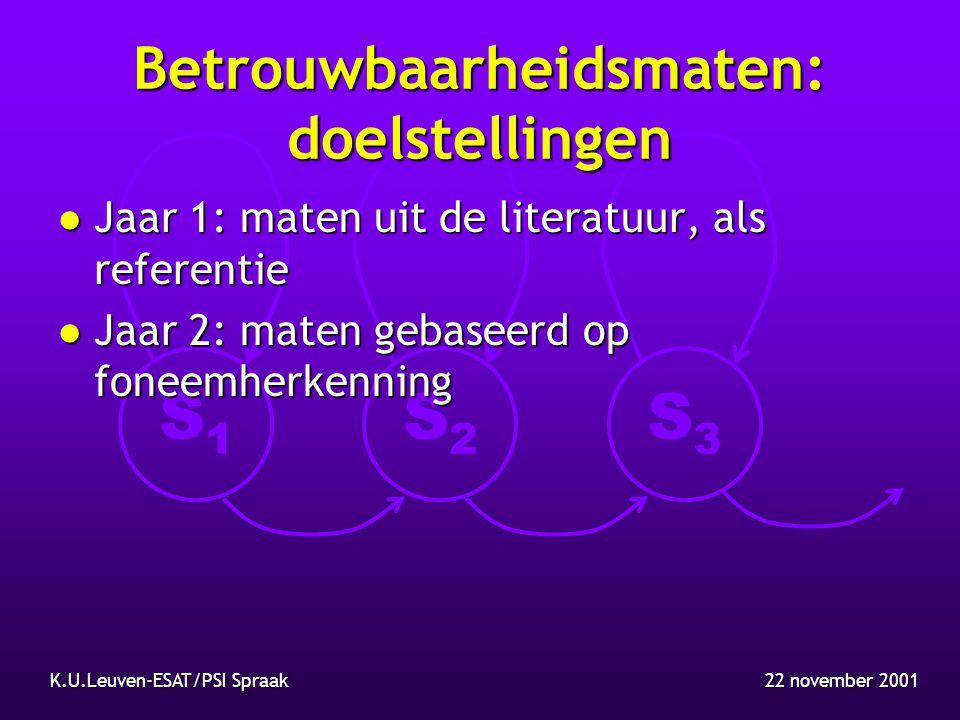S1S1 S2S2 S3S3 22 november 2001K.U.Leuven-ESAT/PSI Spraak Betrouwbaarheidsmaten: werkzaamheden l Literatuurstudie: referentiematen nodig, combinatie van verschillende maten, evaluatie van maten: genormaliseerde kruisentropie (NIST standaard) l Implementatie van maten uit literatuur: nodige gegevens gehaald uit zoekalgoritme: zoekbreedte (8.5%), taalmodelscore (8.4%), akoestische score (2.4%)