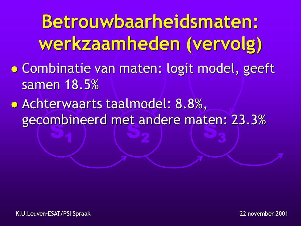 S1S1 S2S2 S3S3 22 november 2001K.U.Leuven-ESAT/PSI Spraak Betrouwbaarheidsmaten: werkzaamheden (vervolg) l Combinatie van maten: logit model, geeft samen 18.5% l Achterwaarts taalmodel: 8.8%, gecombineerd met andere maten: 23.3%