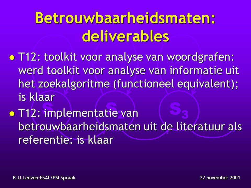 S1S1 S2S2 S3S3 22 november 2001K.U.Leuven-ESAT/PSI Spraak WP3: detectie en herstel van problemen bij spontane spraak l Statistisch taalmodel voor spontane spraak