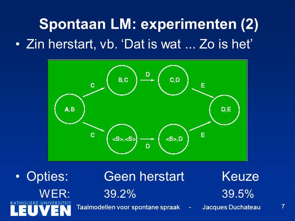 Taalmodellen voor spontane spraak - Jacques Duchateau 7 Spontaan LM: experimenten (2) Zin herstart, vb.