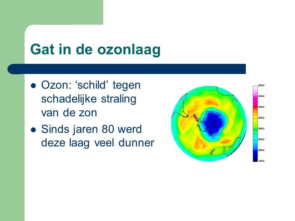 Gat in de ozonlaag Ozon: 'schild' tegen schadelijke straling van de zon Sinds jaren 80 werd deze laag veel dunner