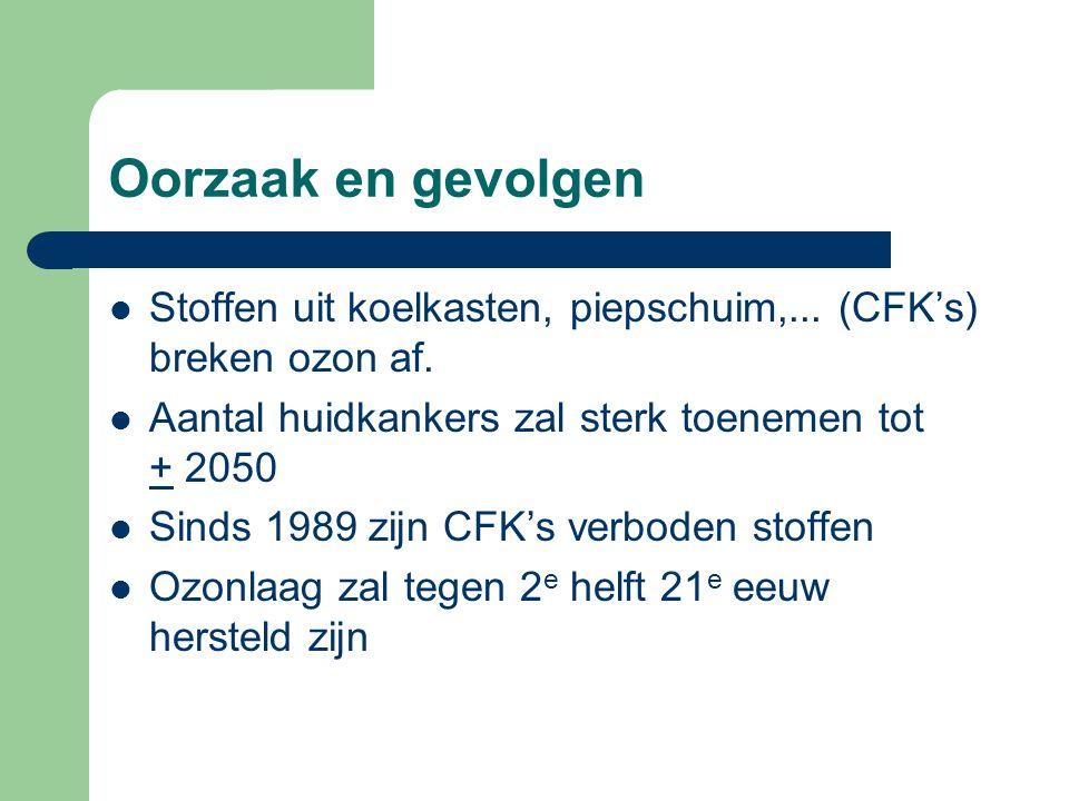 Oorzaak en gevolgen Stoffen uit koelkasten, piepschuim,... (CFK's) breken ozon af. Aantal huidkankers zal sterk toenemen tot + 2050 Sinds 1989 zijn CF
