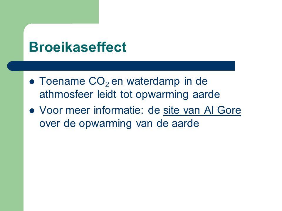 Broeikaseffect Toename CO 2 en waterdamp in de athmosfeer leidt tot opwarming aarde Voor meer informatie: de site van Al Gore over de opwarming van de aardesite van Al Gore