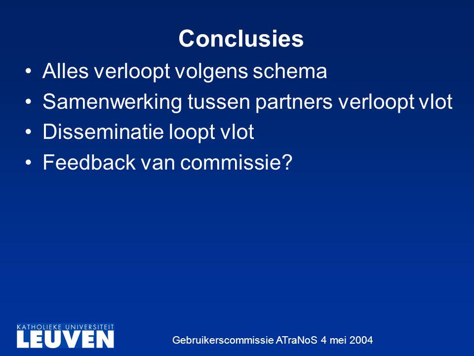 Gebruikerscommissie ATraNoS 4 mei 2004 Conclusies Alles verloopt volgens schema Samenwerking tussen partners verloopt vlot Disseminatie loopt vlot Feedback van commissie?