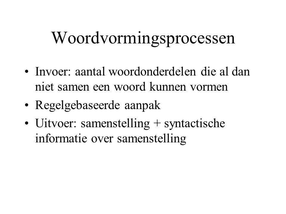 Woordvormingsprocessen Invoer: aantal woordonderdelen die al dan niet samen een woord kunnen vormen Regelgebaseerde aanpak Uitvoer: samenstelling + syntactische informatie over samenstelling