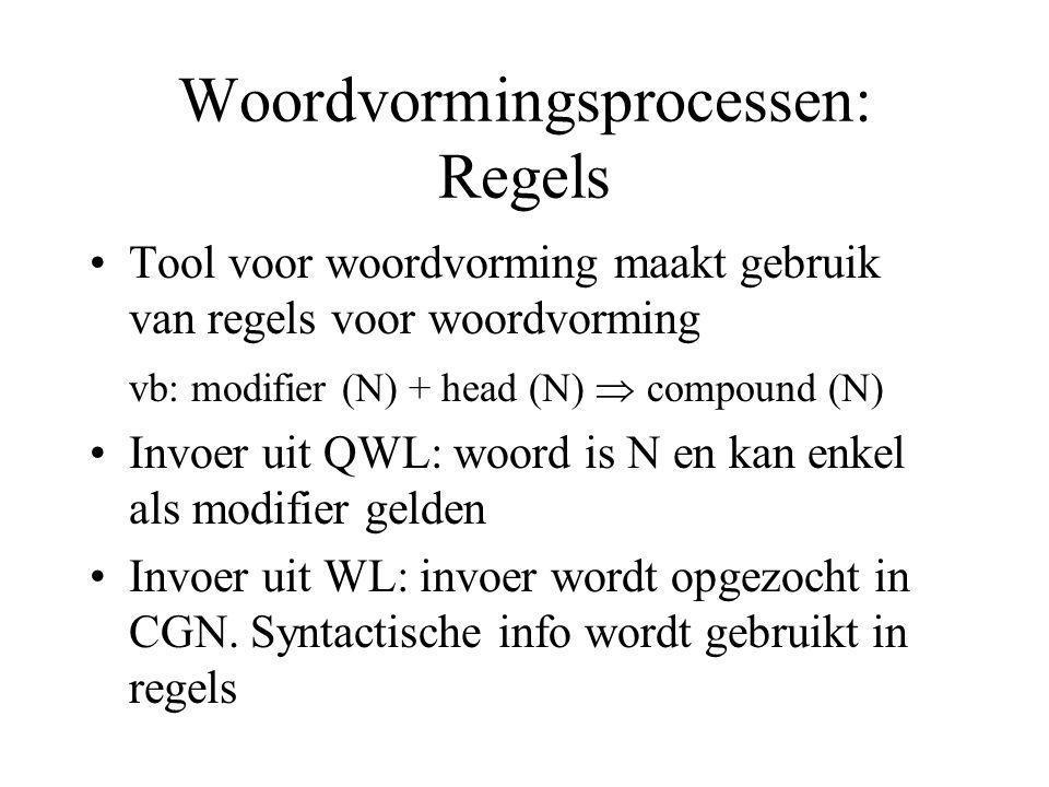 Woordvormingsprocessen: Regels Tool voor woordvorming maakt gebruik van regels voor woordvorming vb: modifier (N) + head (N)  compound (N) Invoer uit QWL: woord is N en kan enkel als modifier gelden Invoer uit WL: invoer wordt opgezocht in CGN.
