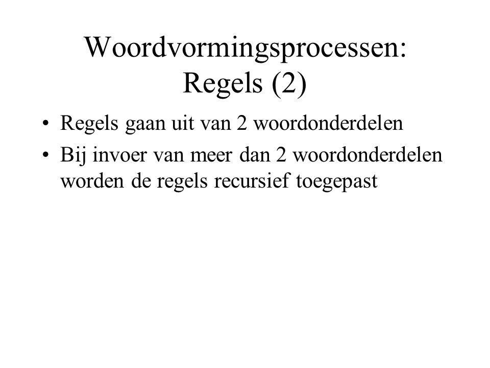 Woordvormingsprocessen: Regels (2) Regels gaan uit van 2 woordonderdelen Bij invoer van meer dan 2 woordonderdelen worden de regels recursief toegepast