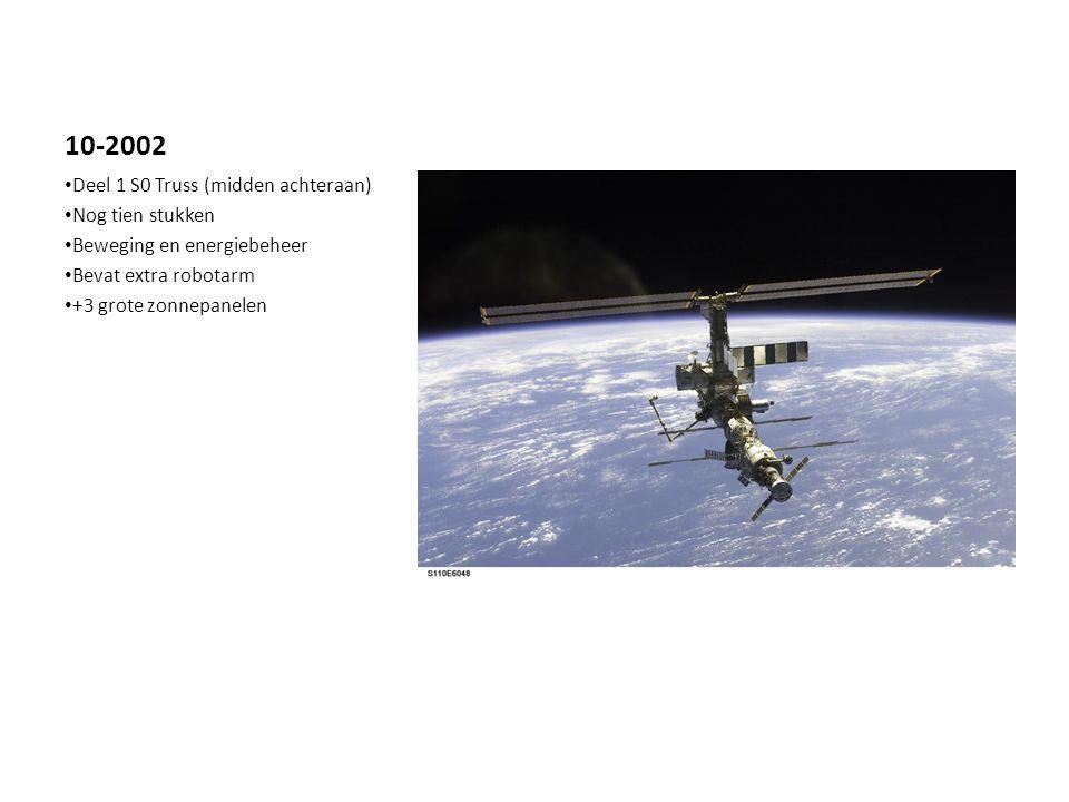 10-2002 Deel 1 S0 Truss (midden achteraan) Nog tien stukken Beweging en energiebeheer Bevat extra robotarm +3 grote zonnepanelen