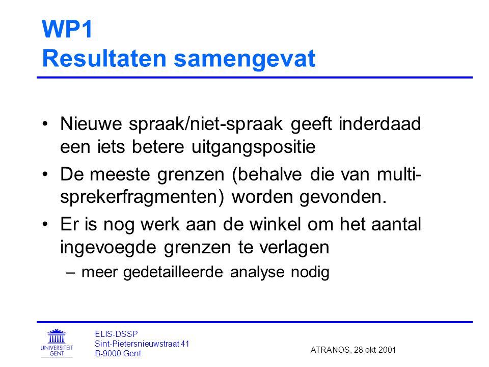 WP1 Resultaten samengevat Nieuwe spraak/niet-spraak geeft inderdaad een iets betere uitgangspositie De meeste grenzen (behalve die van multi- sprekerfragmenten) worden gevonden.