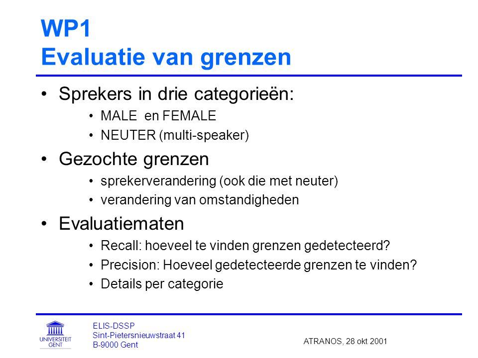 WP1 Evaluatie van grenzen Sprekers in drie categorieën: MALE en FEMALE NEUTER (multi-speaker) Gezochte grenzen sprekerverandering (ook die met neuter) verandering van omstandigheden Evaluatiematen Recall: hoeveel te vinden grenzen gedetecteerd.